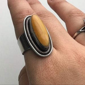 Vintage Honey Amber Mid Century Sterling 950 Ring